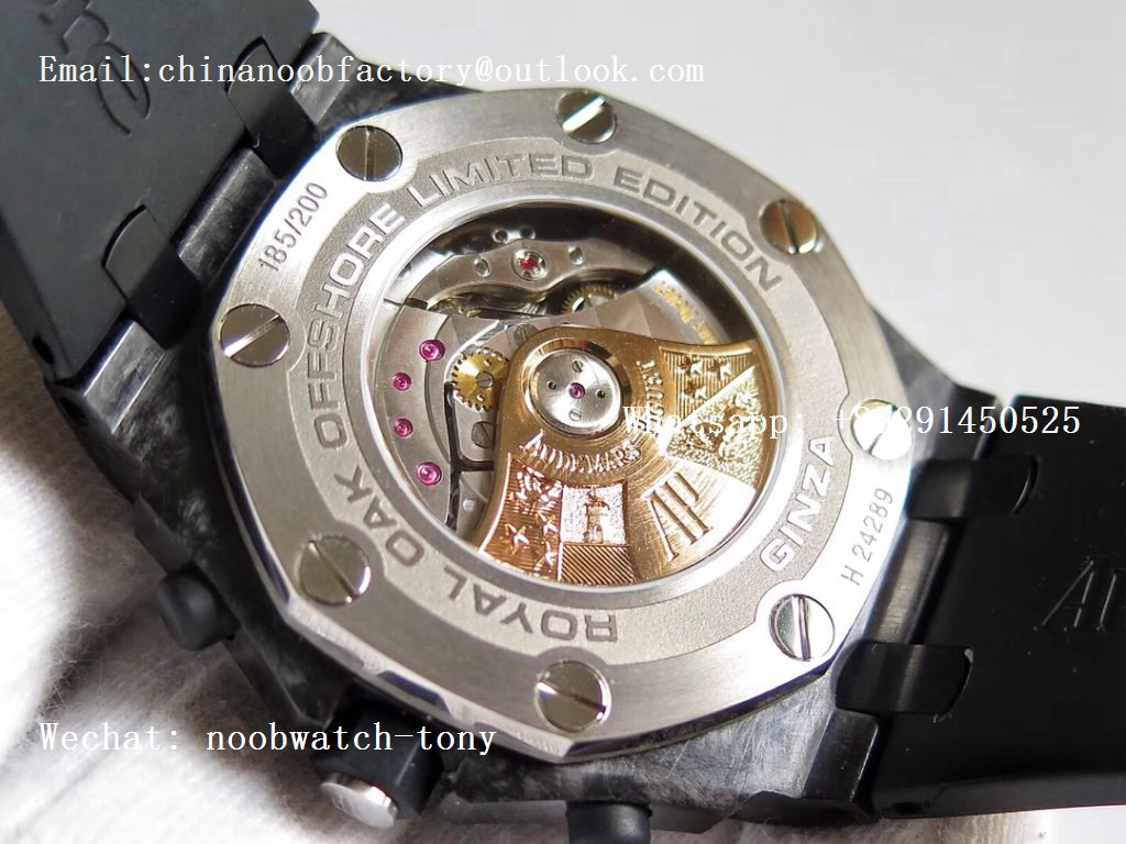 Replica Audemars Piguet AP Royal Oak Offshore GINZA 7 Forged Carbon JF Best Edition on Rubber Strap A3126 V2