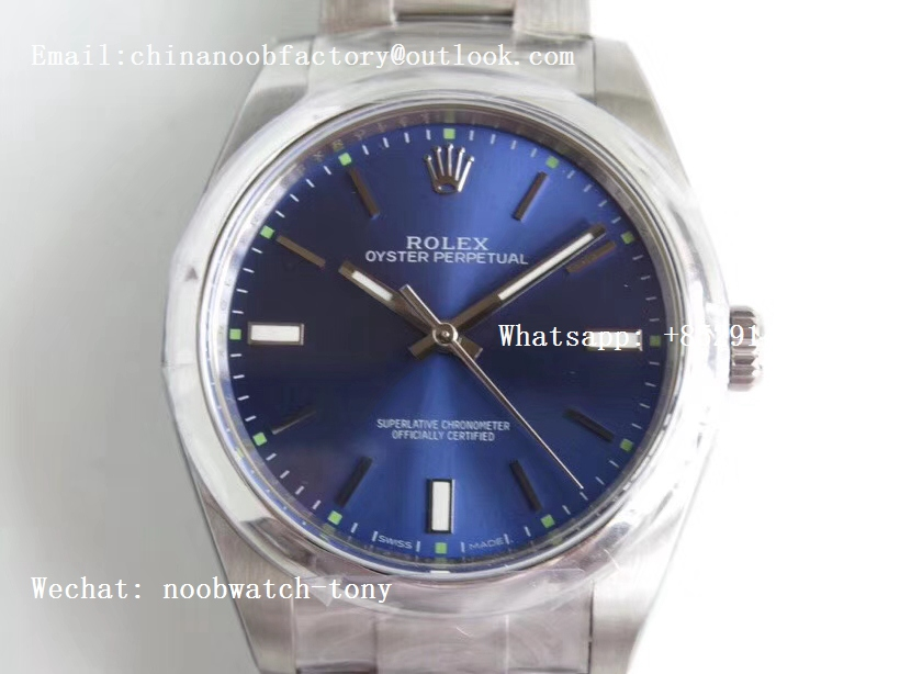 Replica Rolex Oyster Perpetual 39mm 114300 ARF 1:1 Best Edition 904L SS Case and Bracelet Blue Dial SH3132