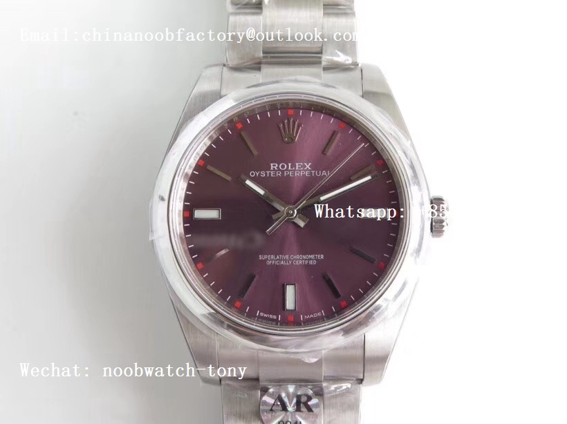 Replica Rolex Oyster Perpetual 39mm 114300 ARF 1:1 Best Edition 904L SS Case and Bracelet Red Grape Dial SH3132