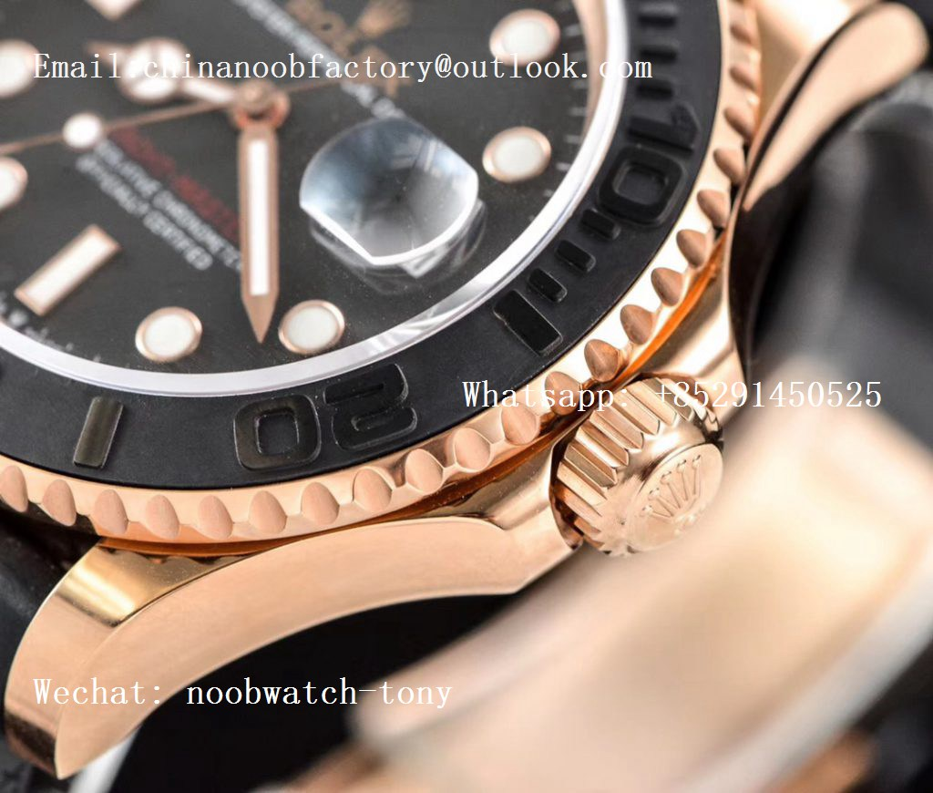 Replica Rolex Yacht-Master 116655 Rose GOLD VRF 1:1 Best Edition 3D Black Ceramic Bezel on Black Rubber Strap A2836