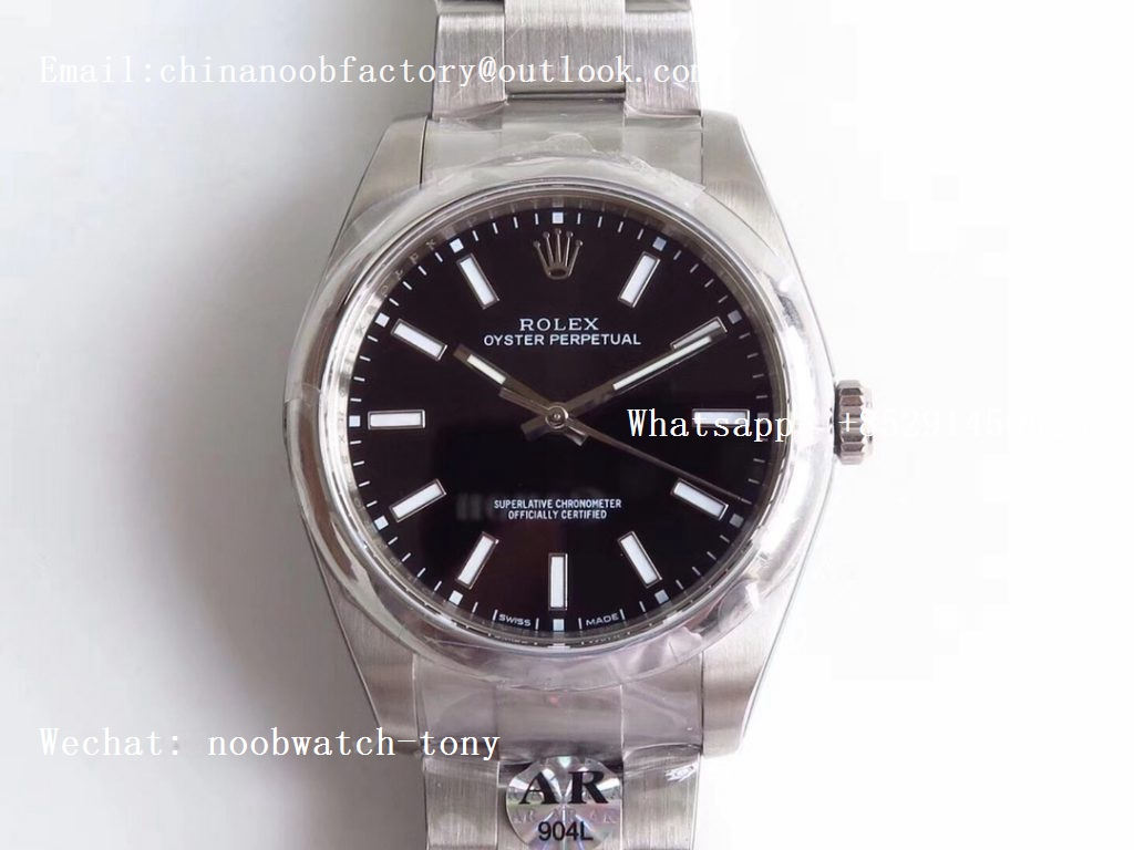 Replica Rolex Oyster Perpetual 39mm 114300 ARF 1:1 Best Edition 904L SS Case and Bracelet Black Dial SH3132