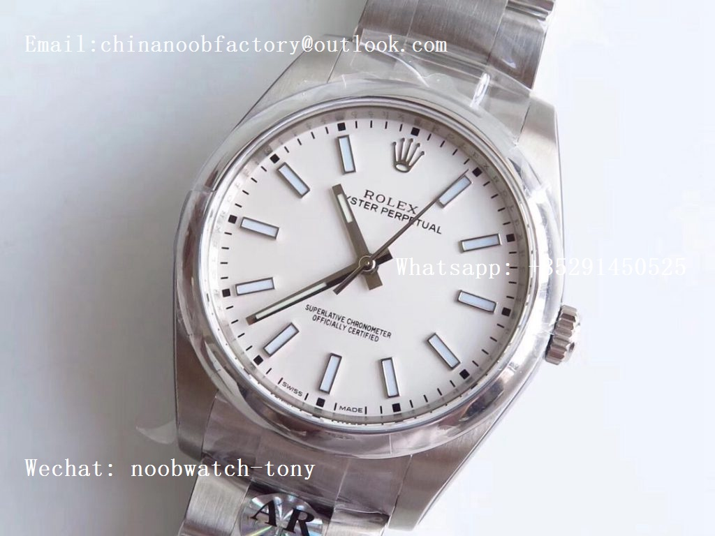 Replica Rolex Oyster Perpetual 39mm 114300 ARF 1:1 Best Edition 904L SS Case and Bracelet White Dial SH3132