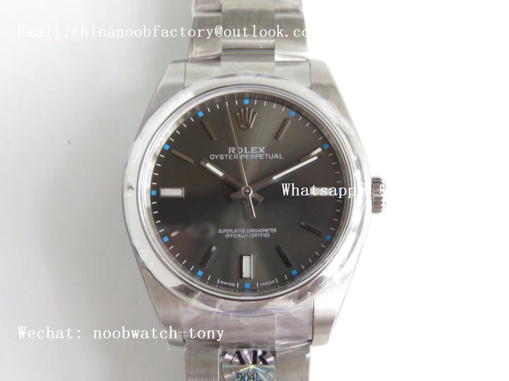 Replica Rolex Oyster Perpetual 39mm 114300 ARF 1:1 Best Edition 904L SS Case and Bracelet Gray Rhodium Dial SH3132