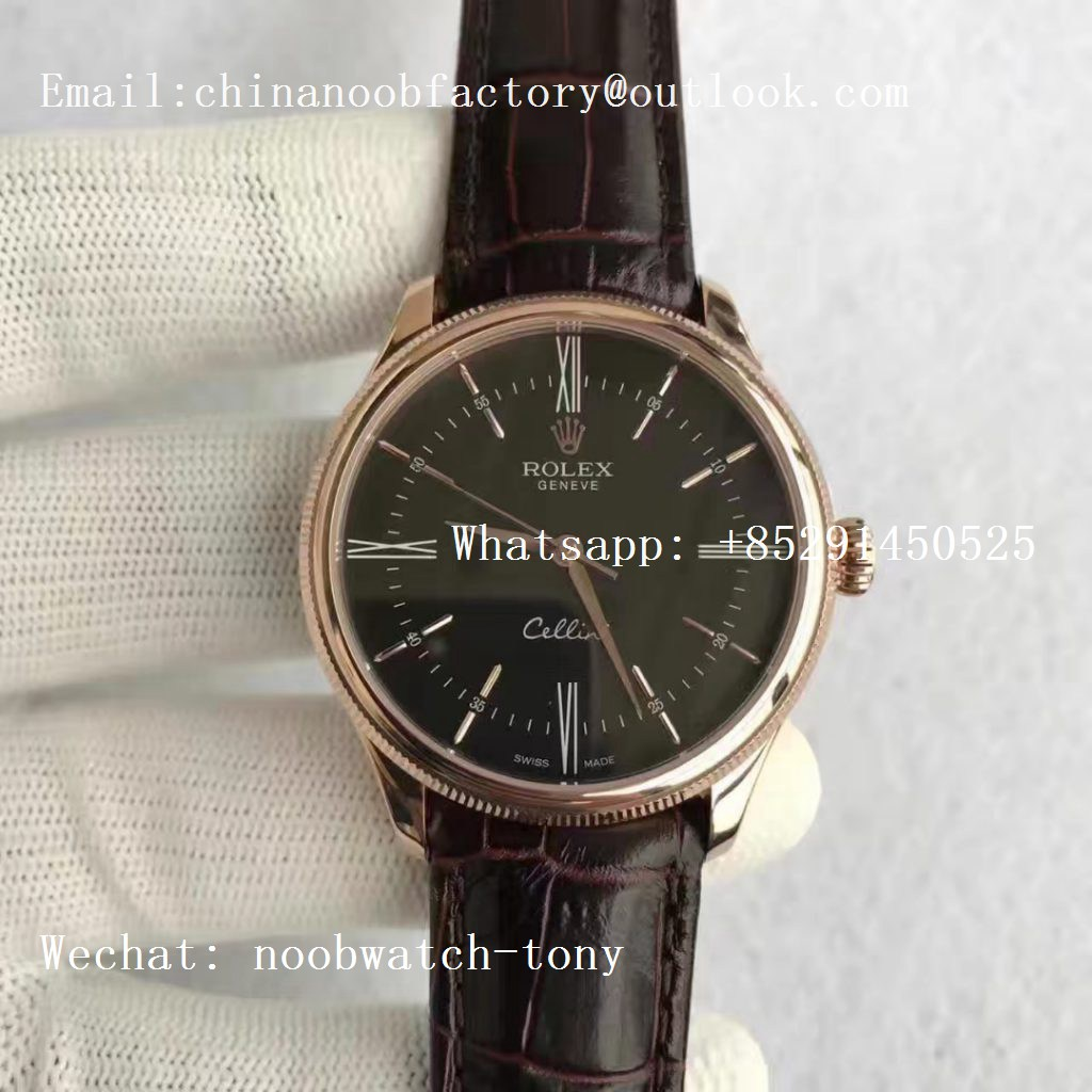 Replica Rolex Cellini Time 50505 Rose Gold MKF Best Edition Black Dial on Brown Leather Strap A3165 V3
