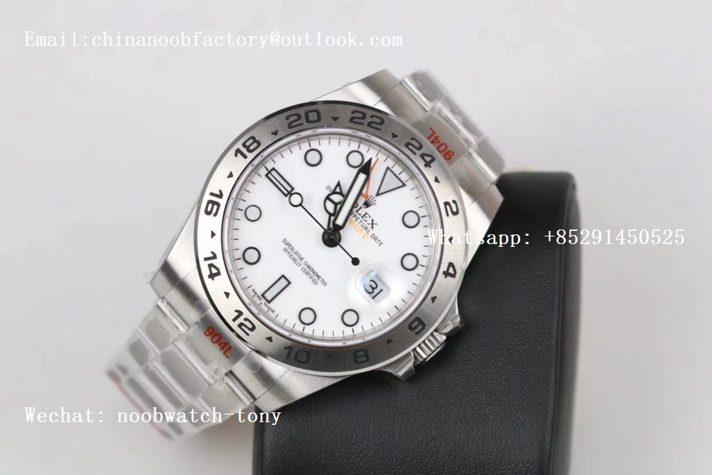 Replica Rolex Explorer II 42mm 216570 Black 904L SS GMF 1:1 Best Edition White Dial on Bracelet A3187 (Correct Hand Stack)