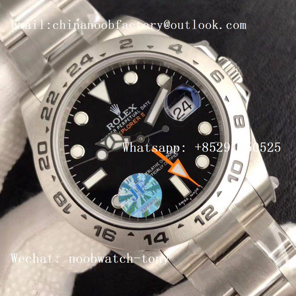 Replica Rolex Explorer II 42mm 216570 JF 1:1 Best Edition Black Dial on SS Bracelet A2836 V3