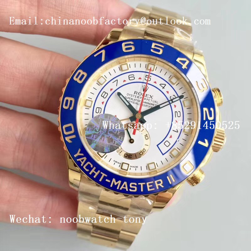 Replica Rolex YachtMaster II 116688 ALL Yellow GOLD Blue Ceramic JF 1:1 Best Edition Bracelet A7750
