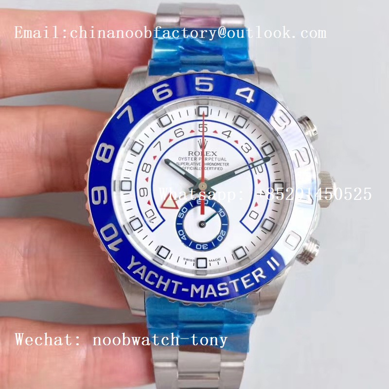 Replica Rolex YachtMaster II 116680 SS Blue Ceramic JF 1:1 Best Edition on SS Bracelet A7750