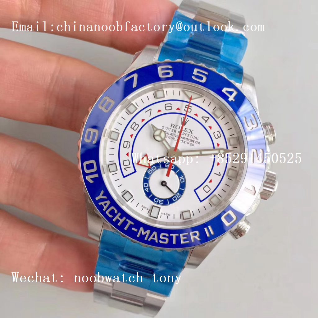 Replica Rolex YachtMaster II 2017 baselworld 116680 SS Blue Ceramic JF 1:1 Best Edition on SS Bracelet A7750