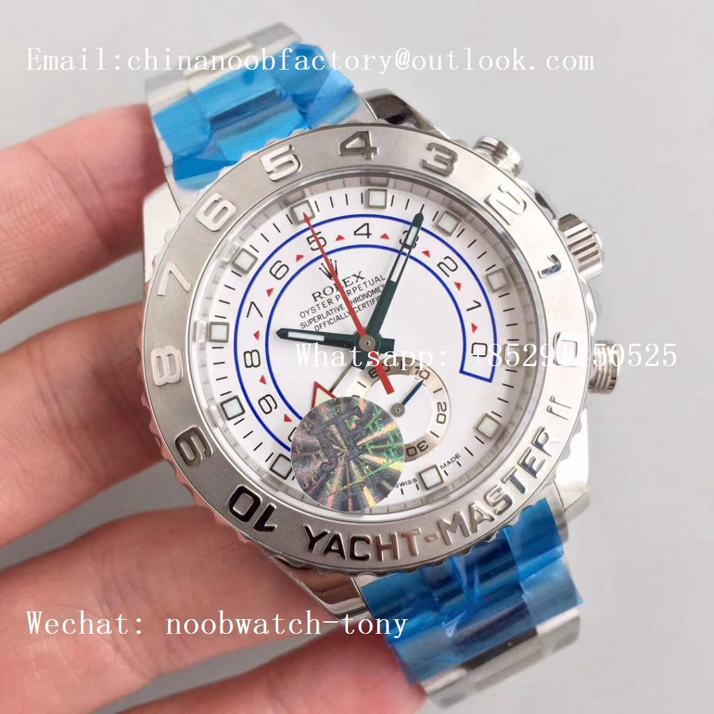 Replica Rolex YachtMaster II 116689 SS JF 1:1 Best Edition White Dial on SS Bracelet A7750