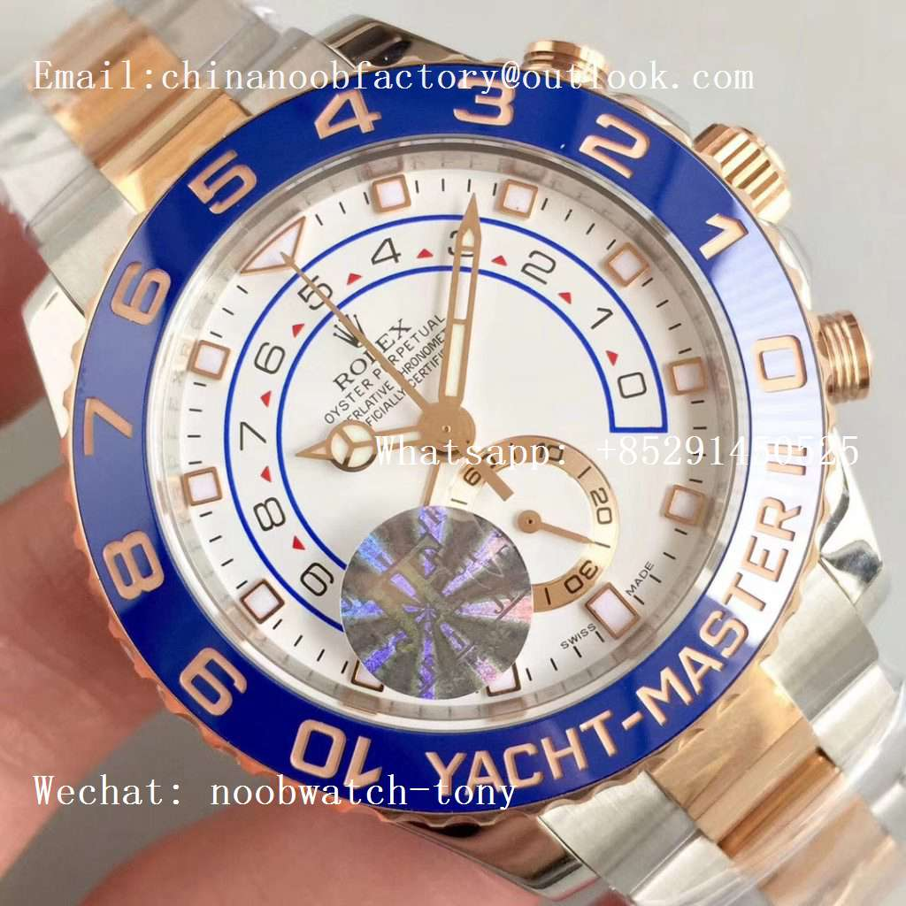 Replica Rolex YachtMaster II 116681 2tone Rose Gold Steel Blue Ceramic JF 1:1 Best Edition A7750
