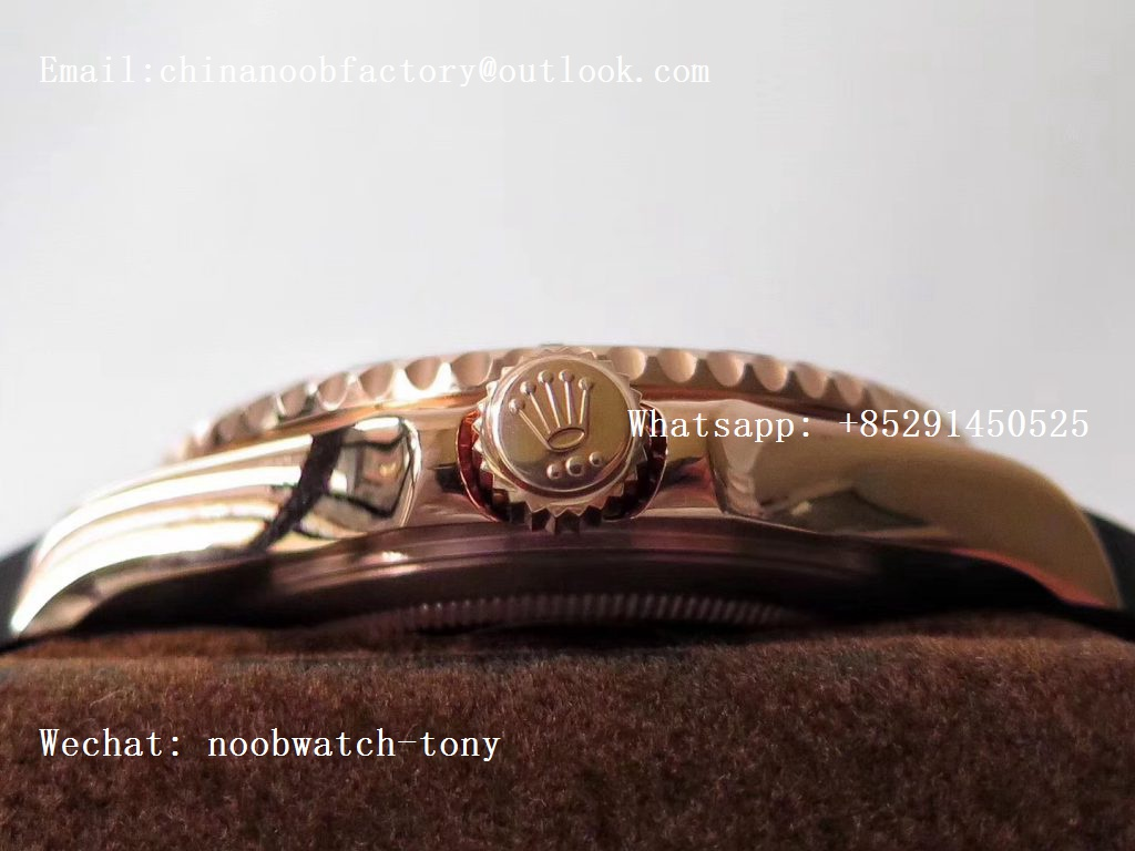 Replica Rolex Yacht-Master 116655 Noob Rose GOLD 1:1 Best Edition 3D Black Ceramic Bezel on Black Rubber Strap SA3135