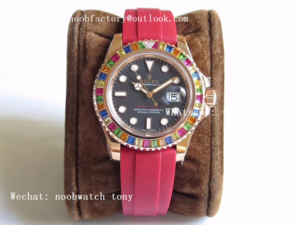 Replica Rolex Yacht-Master 40 116695SATS Noob 1:1 Best Edition 904L Case on Red Rubber Strap