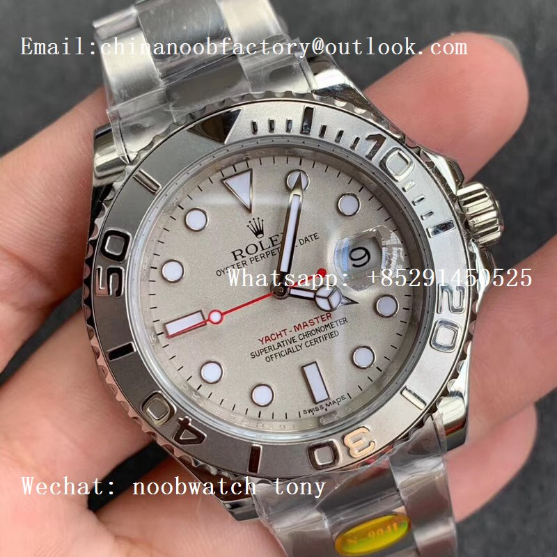 Replica Rolex Yacht-Master 116622 1:1 Noob Best Edition 904L Steel Silver Dial Red Hand on Bracelet SA3135