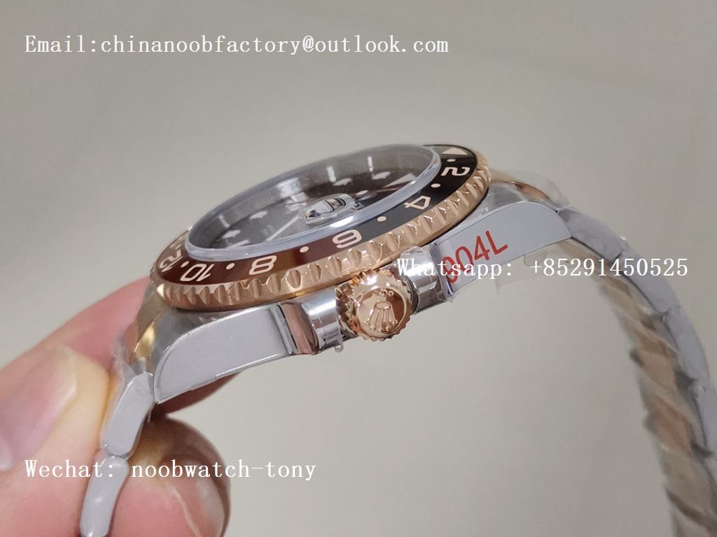 Replica Rolex GMT-Master II 126711 CHNR Steel/Rose Gold Wrapped 904L Steel GMF 1:1 Best Edition A3285 (Correct Hand Stack)
