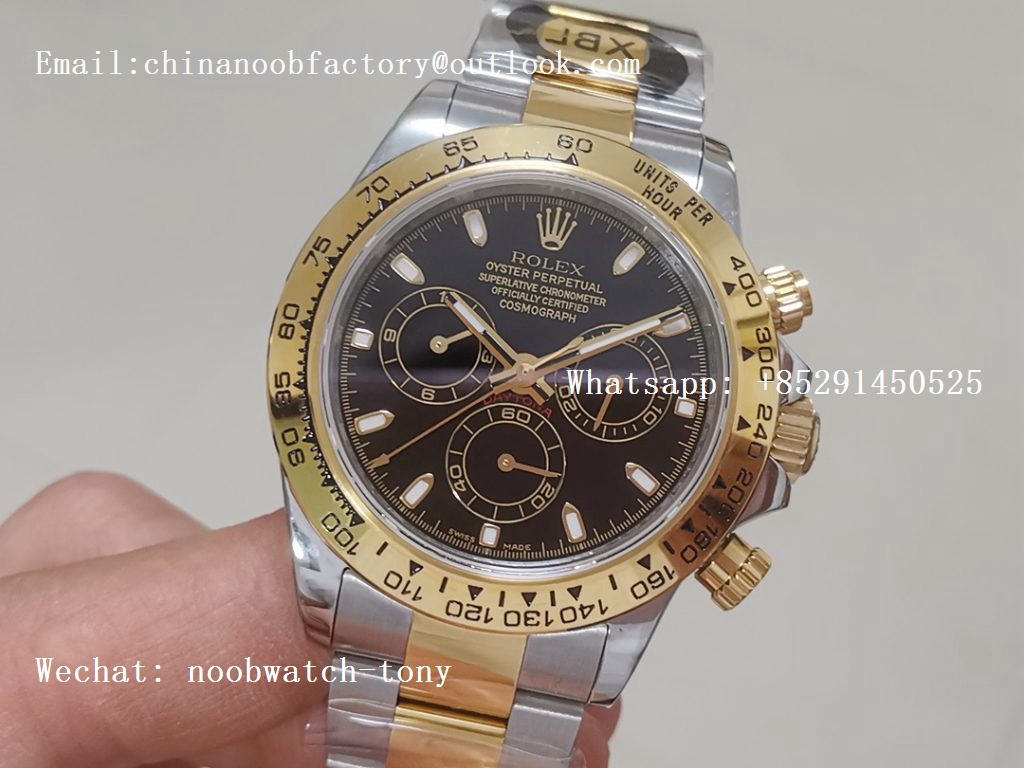 Replica Rolex Daytona 116523 2tone Steel/Yellow Gold Black Dial JF