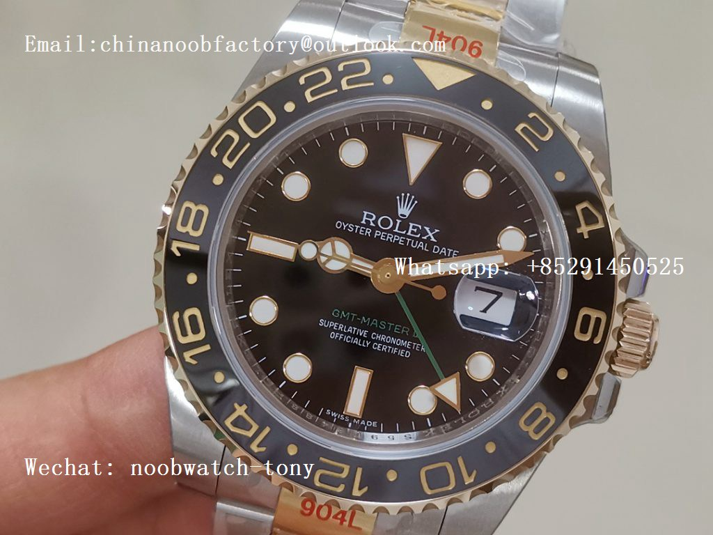 Replica Rolex GMT-Master II 116713 LN Yellow Gold Wrapped 904L Steel GMF 1:1 Best Edition A3186 (Correct Hand Stack)