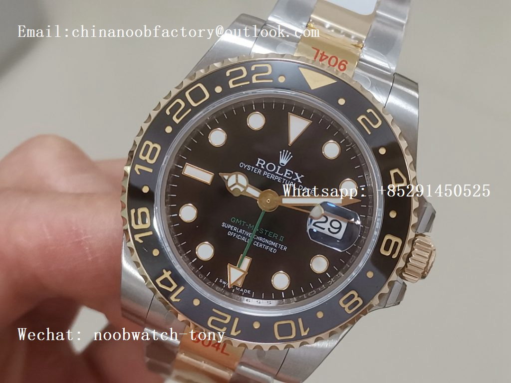 Replica Rolex GMT-Master II 116713 LN Black Ceramic Thick Yellow Gold Wrapped 904L Steel 1:1 Noob Best Edition A3186