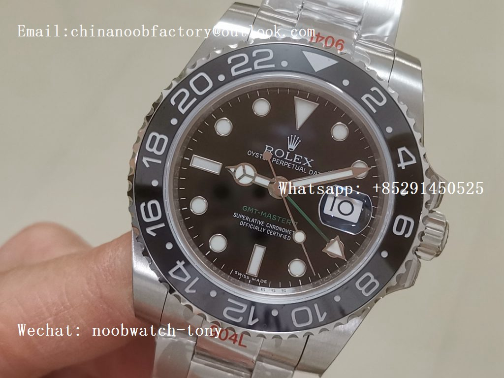 Replica Rolex GMT Master II 116710 LN Real Ceramic 904L SS GMF 1:1 Best Edition Black Dial A3186 (Correct Hand Stack)