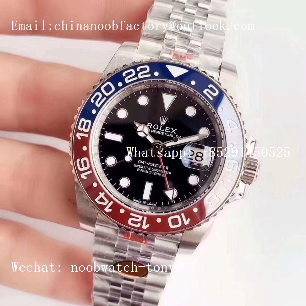 Replica Rolex GMT Master II 126710 BLRO Real Ceramic 904L SS Noob 1:1 Best Edition on Bracelet A3285 (Correct Hand Stack)