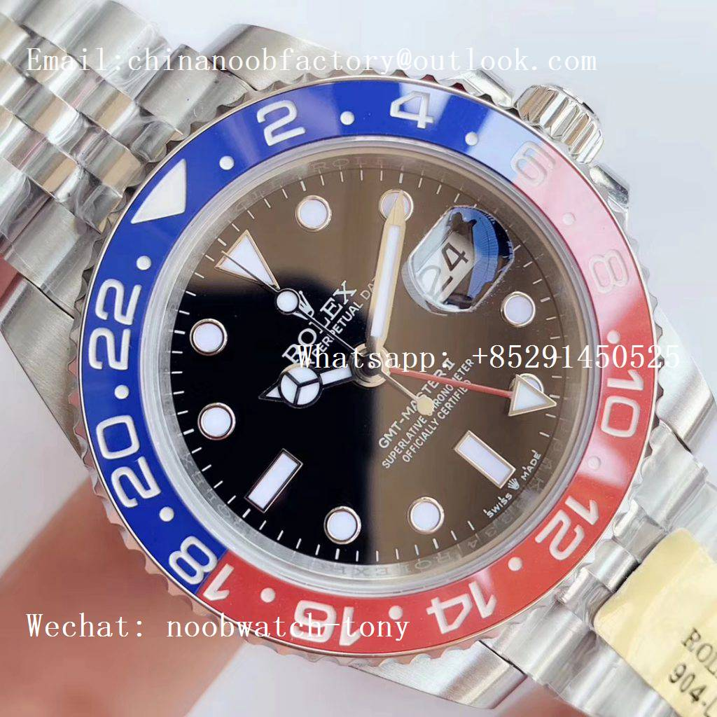 Replica Rolex GMT Master II 126710 BLRO 904L SS UNF Best Edition Black Dial on Jubilee Bracelet A3186 (Correct Hand Stack)