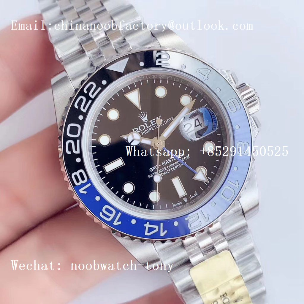 Replica Rolex GMT Master II 126710 BLNR 904L SS UNF Best Edition Black Dial on Jubilee Bracelet A3186 (Correct Hand Stack)