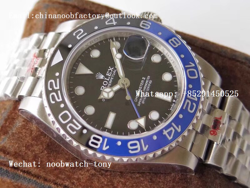 Replica Rolex GMT Master II 126710 BLNR Real Ceramic 904L SS GMF 1:1 Best Edition on Bracelet A3285 (Correct Hand Stack)