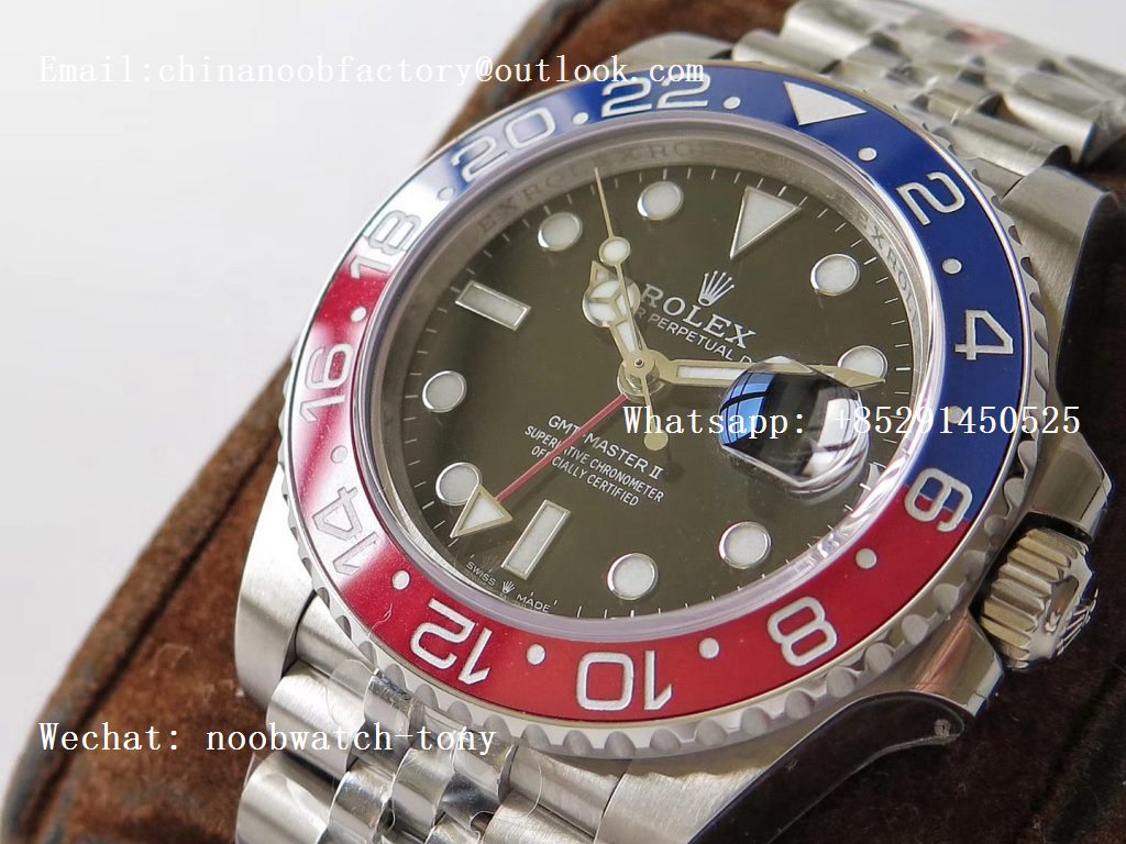 Replica Rolex GMT Master II 126710 BLRO PEPSI Real Ceramic 904L SS GMF 1:1 Best Edition on Bracelet A3285 (Correct Hand Stack)