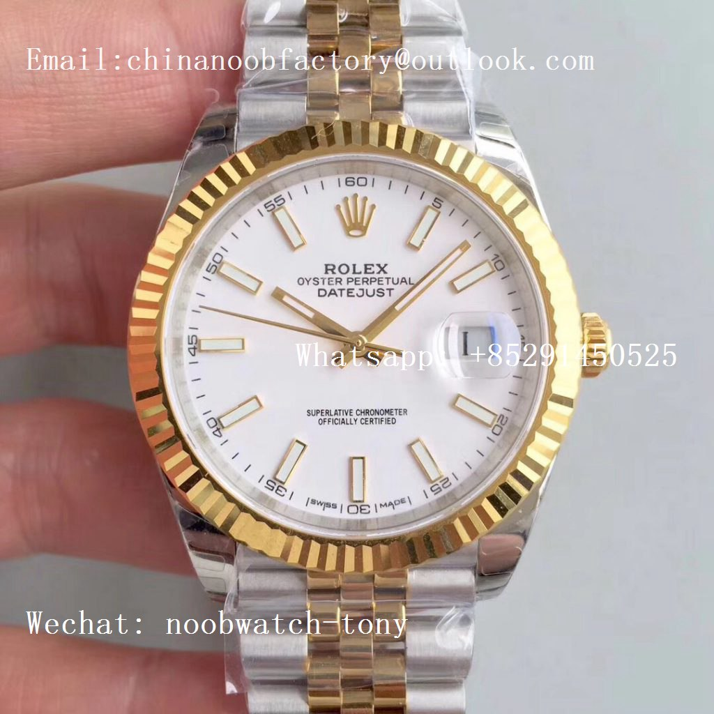 Replica Rolex DateJust 41mm 126333 904L 2tone Yellow Gold/Steel GMF 1:1 Best Edition White Dial A2836