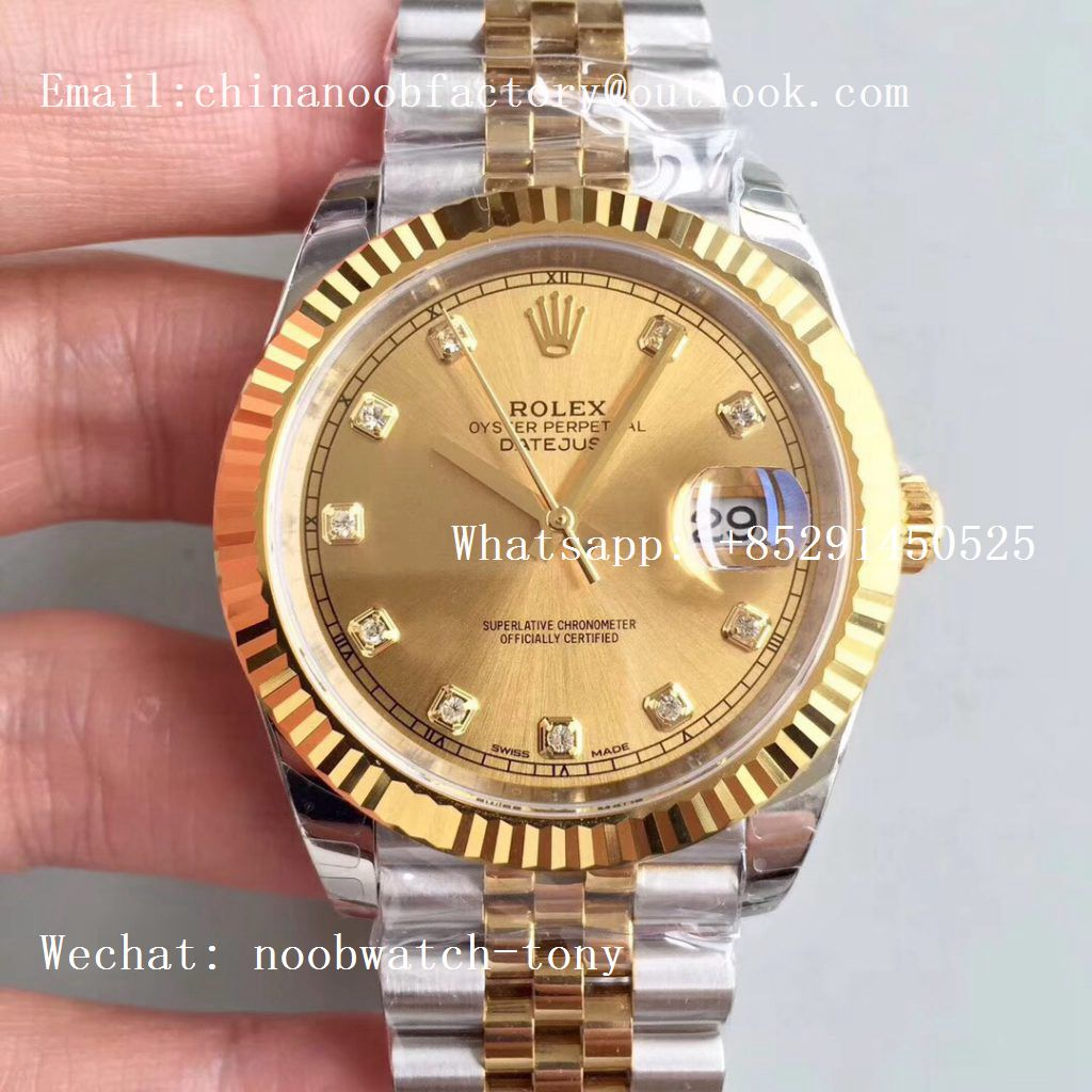 Replica Rolex DateJust 41mm 126333 904L 2tone Yellow Gold/Steel GMF 1:1 Best Edition Golden Diamond Dial A2836