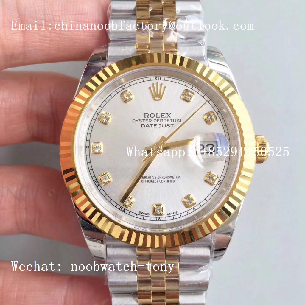 Replica Rolex DateJust 41mm 126333 904L 2tone Yellow Gold/Steel GMF 1:1 Best Edition Silver Diamond Dial A2836