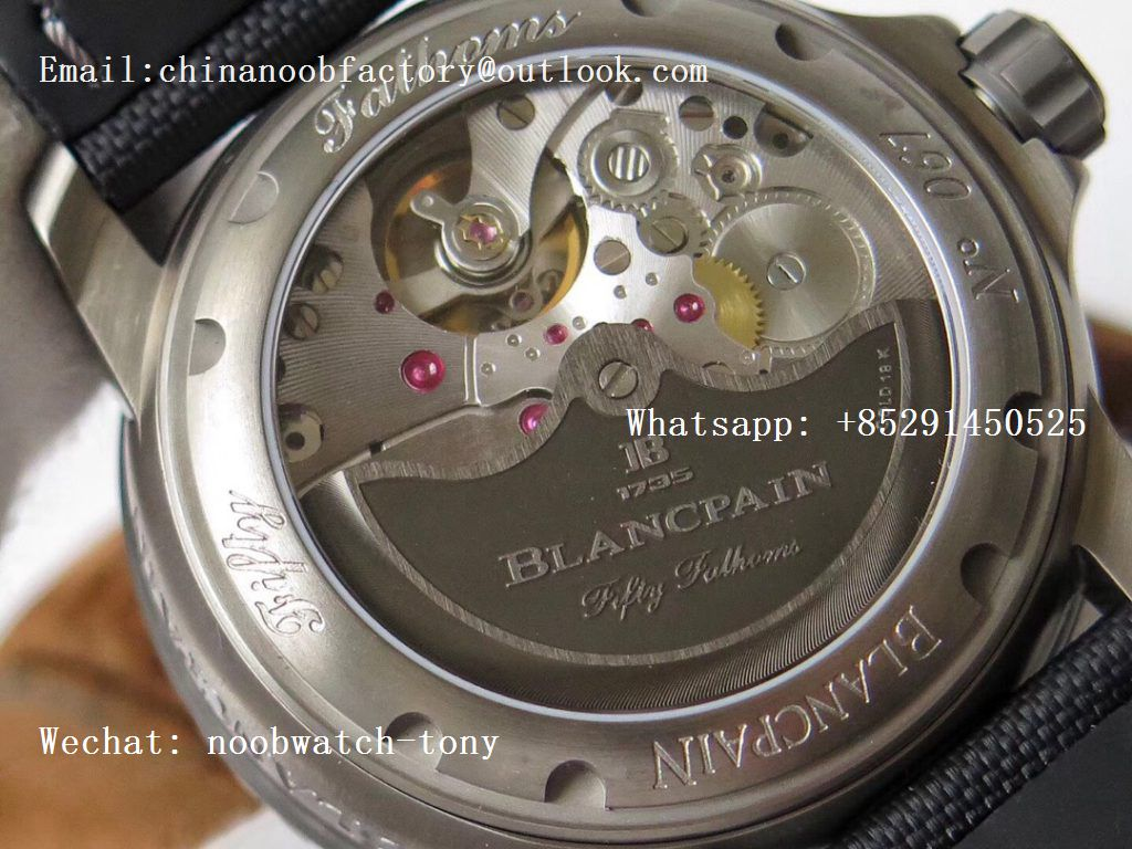 Replica Blancpain Fifty Fathoms Grande Date Black Titanium HGF Best Edition Black Dial on Sail-canvas Strap A23J