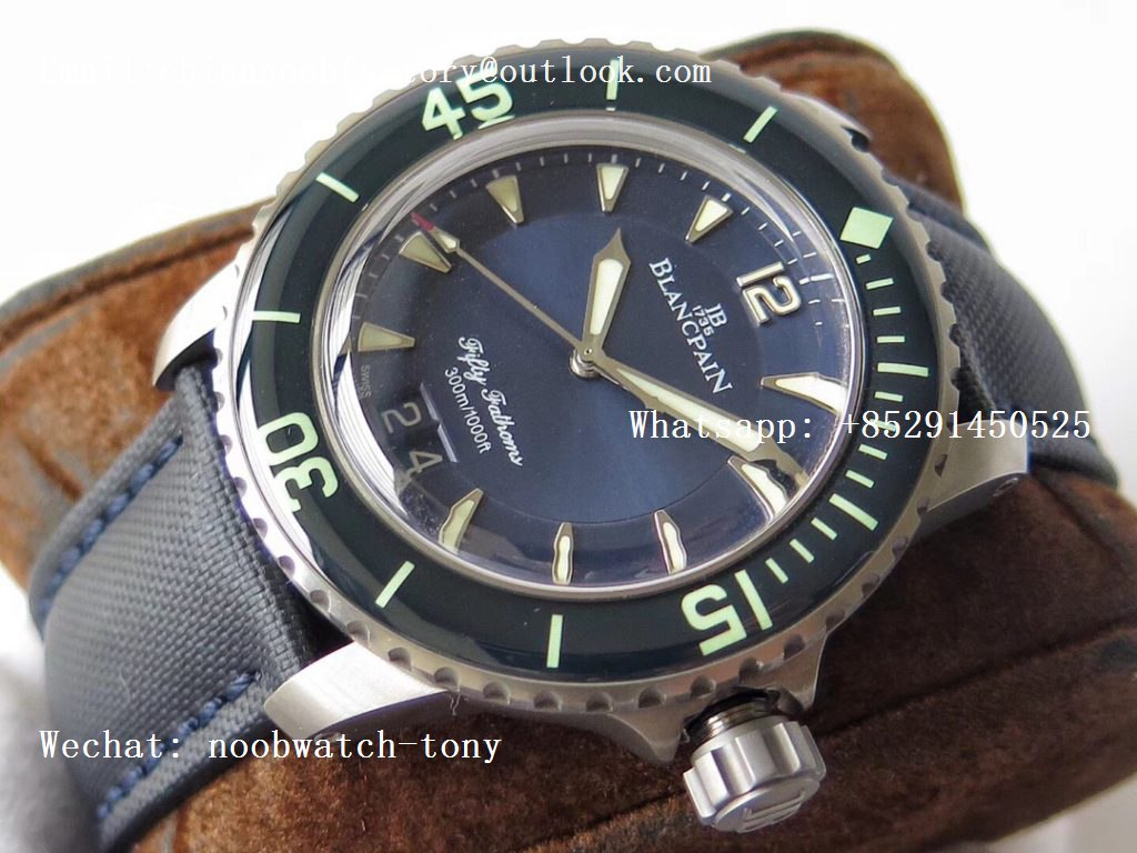 Replica Blancpain Fifty Fathoms Grande Date Blue Titanium HGF Best Edition Blue Dial on Sail-canvas Strap A23J