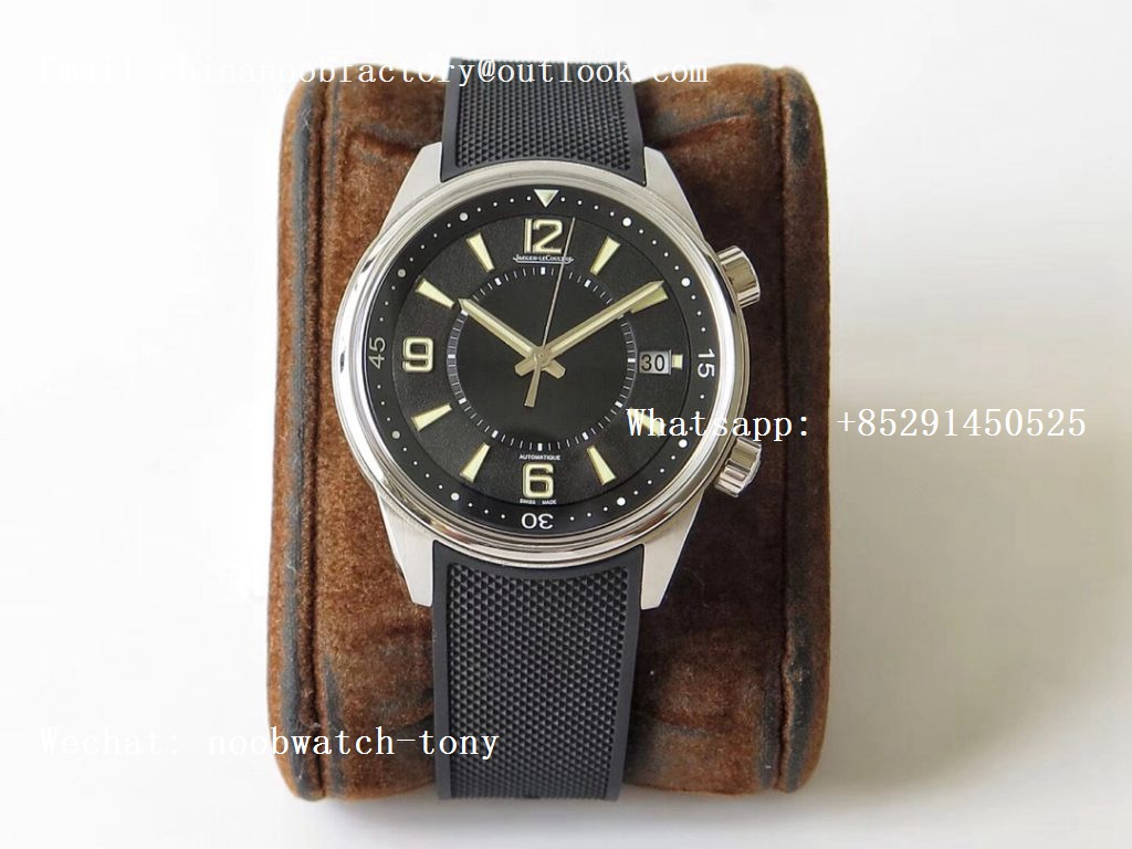 Replica Jaeger Lecoultre JLC Polaris Geographic SS ZF 1:1 Best Edtion Black Dial on Black Rubber Strap Miyota 9015