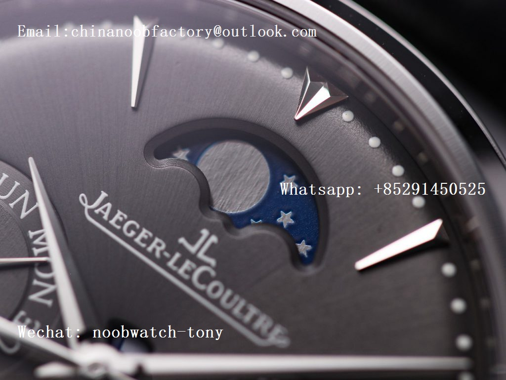 Replica Jaeger Lecoultre JLC Master Ultra Thin Perpetual Calendar V9F 1:1 Best Edition Black Dial on Black Leather Strap A868