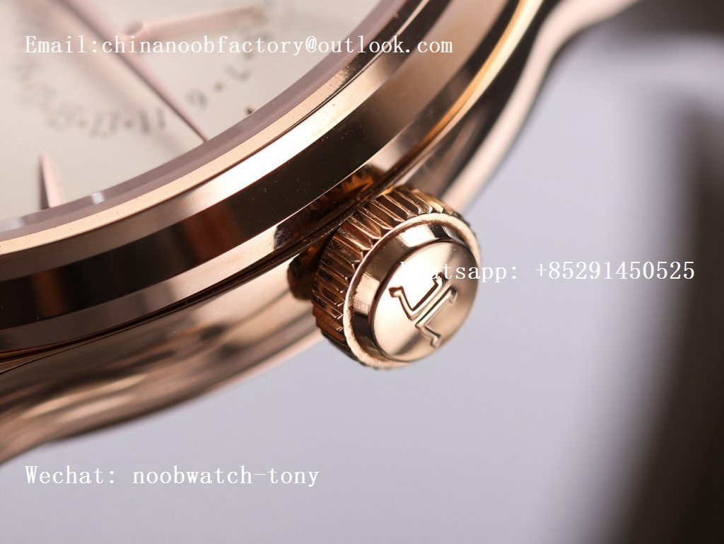 Replica Jaeger Lecoultre JLC Master Ultra Thin Perpetual Calendar Rose Gold V9F 1:1 Best Edition White Dial on Brown Leather Strap A868