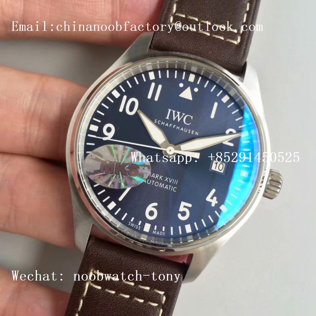 Replica IWC Mark XVIII IW327010 Le Petit Prince MKS 1:1 Best Edition Blue Dial on Brown Leather Strap MIYOTA 9015 V2