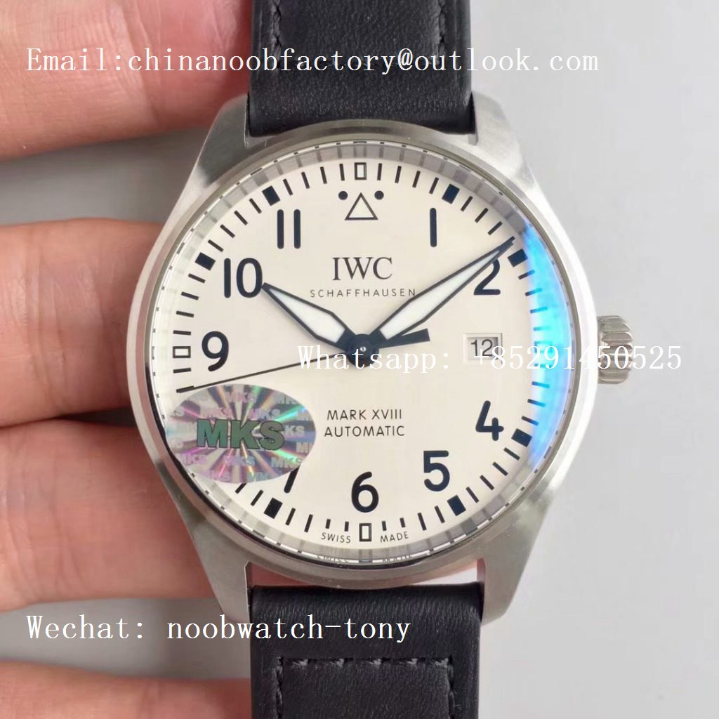 Replica IWC Mark XVIII IW327002 MKS 1:1 Best Edition White Dial on Black Leather Strap MIYOTA 9015 V2