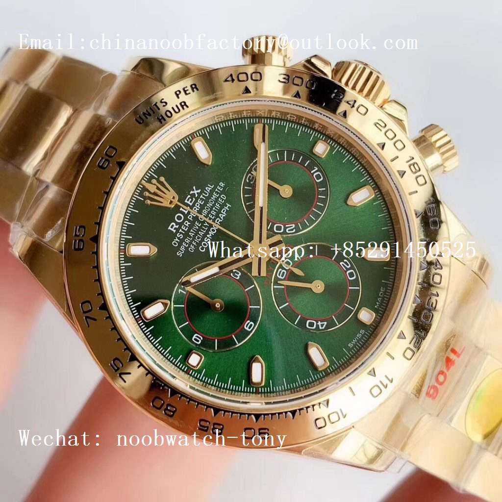 Replica Rolex Daytona 116508 Yellow Gold Noob 1:1 Best Edition 904L SS Case and Bracelet Green Dial SA4130 V3