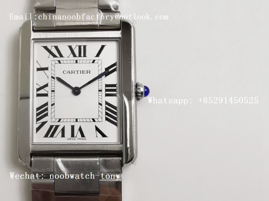 Replica Cartier Tank Solo 27.5mm K11F SS White Dial on SS Bracelet Ronda Quartz