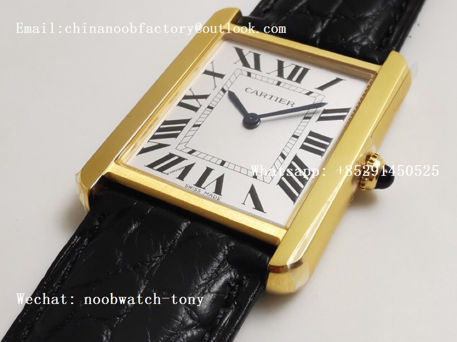 Replica Cartier Tank Solo 27.5mm K11F Yellow Gold White Dial on Black Leather Strap Ronda Quartz