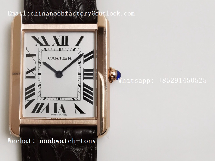 Replica Cartier Tank Solo 27.5mm K11F RG White Dial on Brown Leather Strap Ronda Quartz