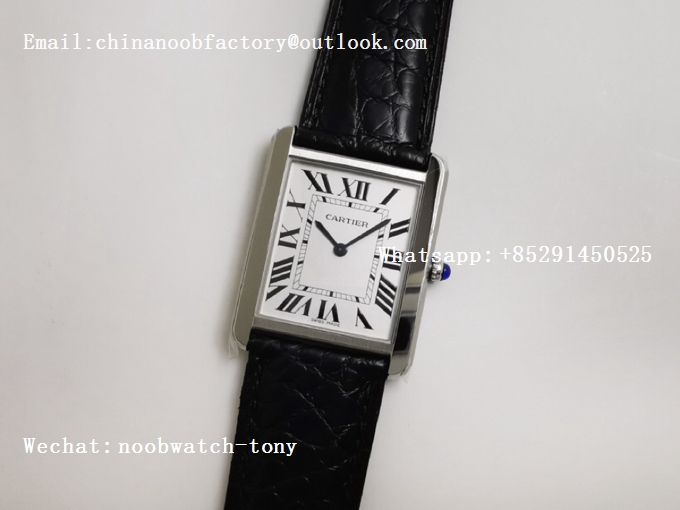 Replica Cartier Tank Solo 27.5mm K11F SS White Dial on Black Croco Strap Ronda Quartz