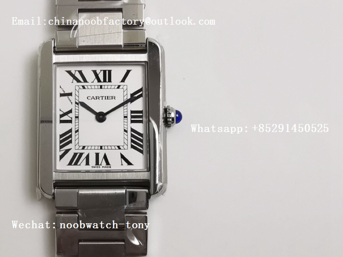 Replica Cartier Tank Solo 24.5mm K11F SS White Dial on SS Bracelet Ronda Quartz