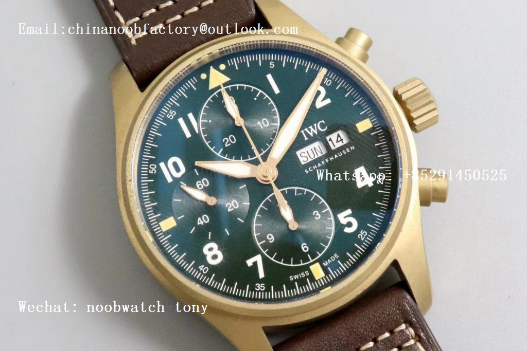 Replica IWC Pilot Chrono Spitfire IW387902 Bronze ZF 1:1 Best Edition Green Dial on Brown Leather Strap A7750