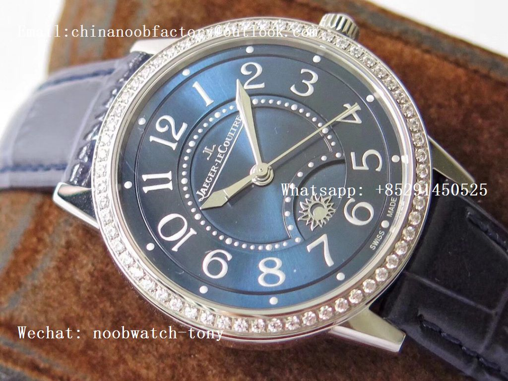 Replica Jaeger Lecoultre JLC Master Ultra Thin Moonphase Ladies SS ZF 1:1 Best Edition Blue Texture Dial Diamond Bezel A898