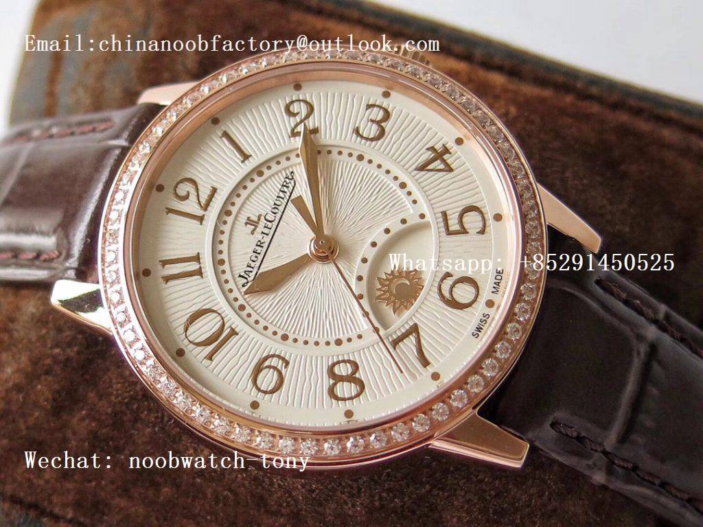 Replica Jaeger Lecoultre JLC Master Ultra Thin Moonphase Ladies Rose Gold ZF 1:1 Best Edition White Texture Dial Diamond Bezel A898