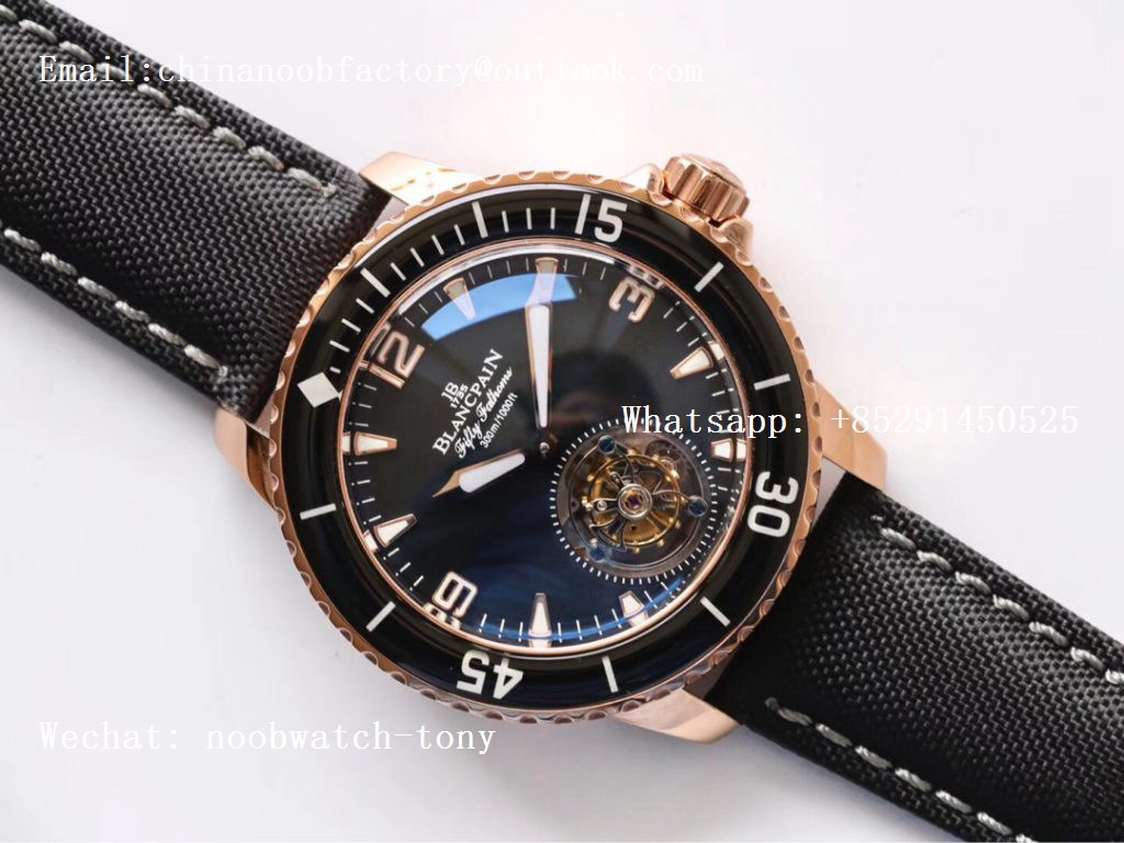 Replica Blancpain Fifty Fathoms Tourbillon Rose Gold JBF Best Edition Black Dial