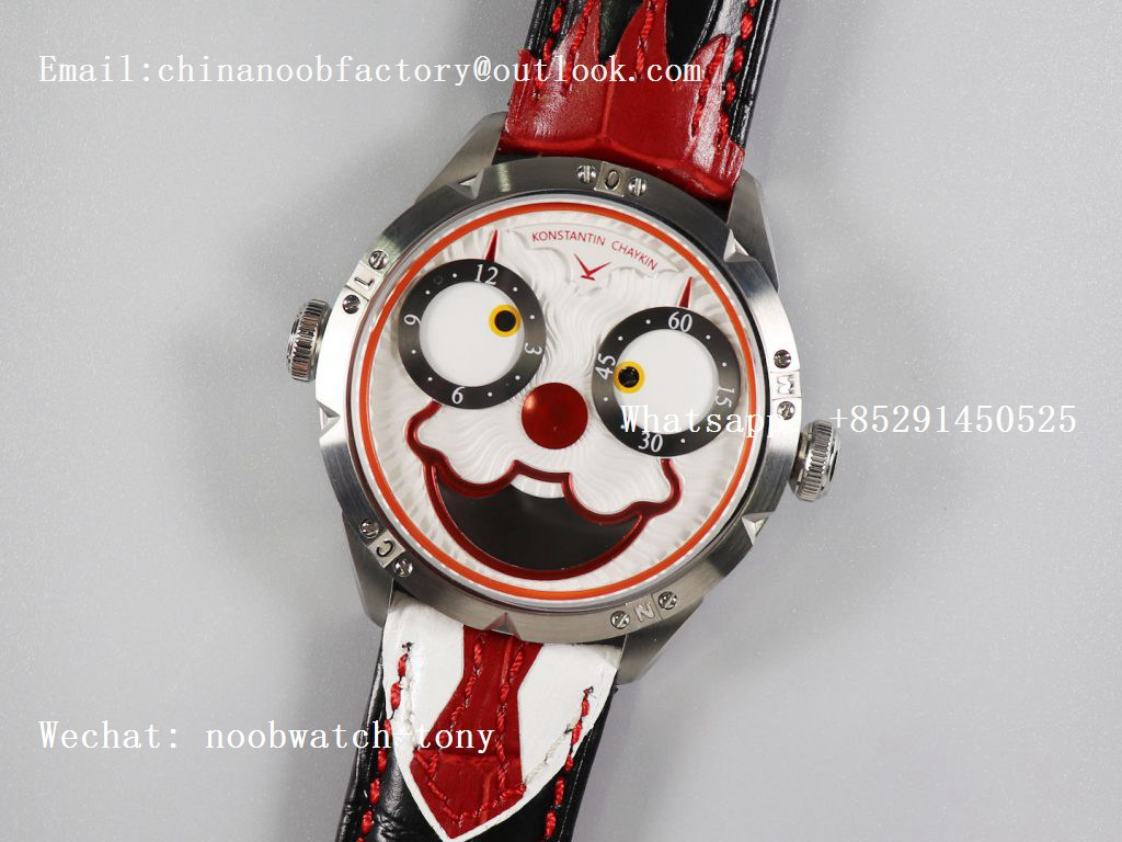 Replica Konstantin Chaykin Joker SS White Joker Dial on Black Leather Strap NH35A