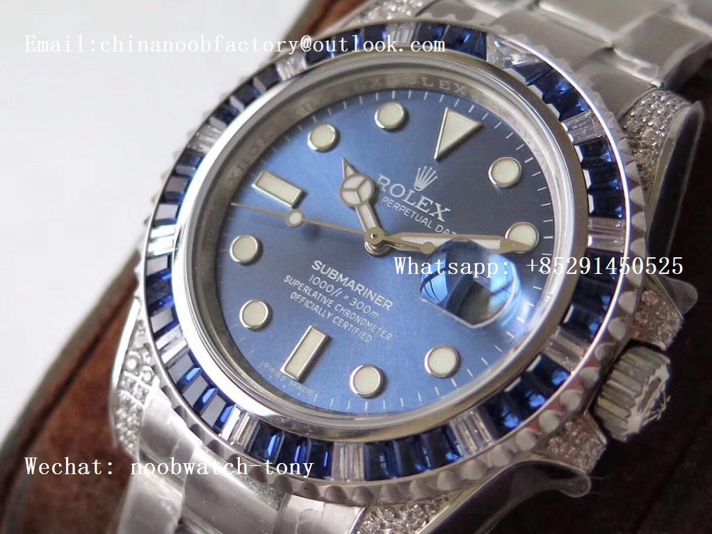 Replica Rolex Submariner Date 116619LB 904L Diamonds Bezel Blue Dial GSF